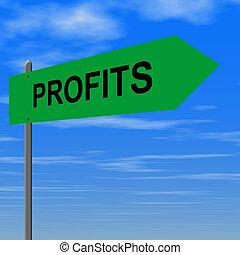Profits - Road to profits sign