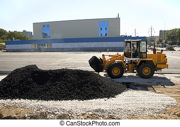 wide asphalt laying - asphalt laying