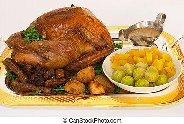 Christmas dinner - The full Xmas dinner on a silver gilt...