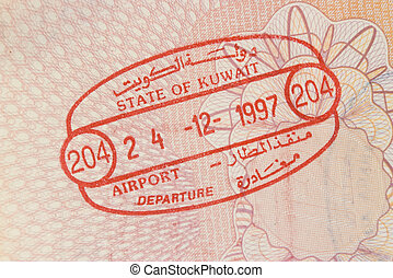 Kuwait airpord stamp - airport exit stamp from Kuwait