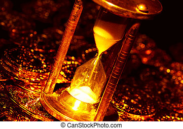 Time is Money - Hourglass and Gold Coins