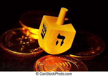 Dreidel - Photo of Dreidels and Gelt