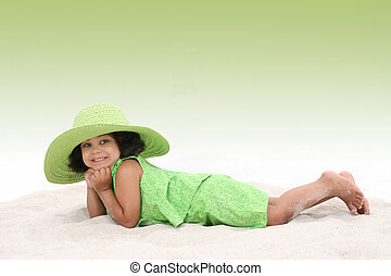Girl Child Beach Fun - Beautiful Young Girl Laying In the...