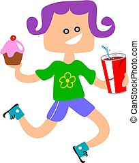 Snack Girl - little girl with a bun and soda drink.