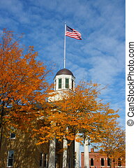 Flagged Dome - American flag on courthouse dome in fall
