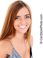 Woman Portrait Smile - Beautiful Young Woman Close Up Great...