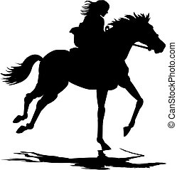 Girl riding horse - A silhoette illustration of a girl...