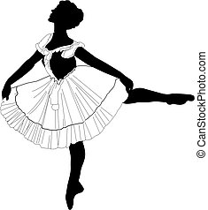 Elegance - Silhouette of a female ballet dancer in action
