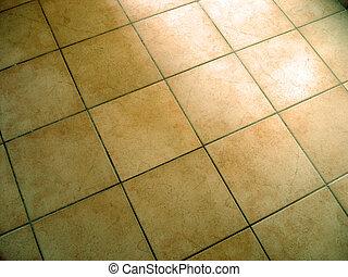 Tiled Floor - Tiled yellow flooring
