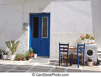 greek islands street scene - a street scene in a residential...