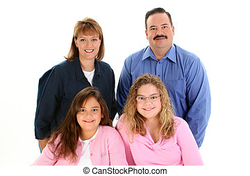 American Family Portrait with Father Mother Daughters Shot...