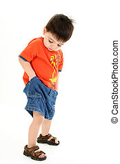 Boy Child Standing - Adorable Toddler Boy Checking Pockets...