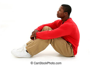 Man Casual Sitting - Casual young man in red long sleeve...