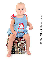 Baby Girl Books - Beautiful 10 Month Old Baby Girl On Stack...