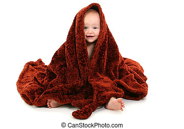 Baby Blanket Happy - Beautiful 10 Month Old Baby Wrapped In...