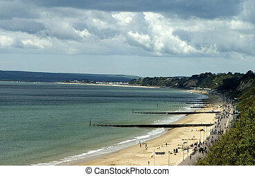 beach - sweep fo the beach at Bournemouth English south...