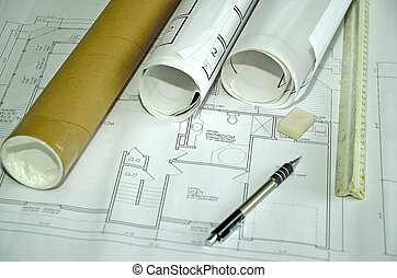 Plans - Photo of Plans and Related Items.