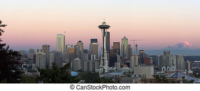 Seattle panorama - Panorama of evening Seattle