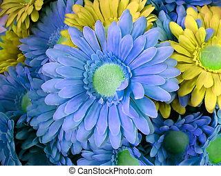 Flowers - blue and yellow - Blue and yellow artificial...