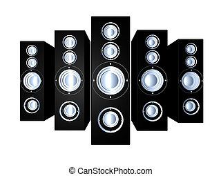 Speakers - Black 1 - Some huge Hifi Speakers 3D illustration...