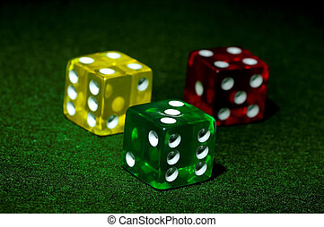 Red Yellow and Green Dice