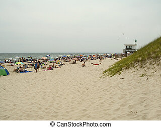 Busy Beach - This is a beach scene at Island Beach State...