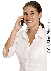 On The Phone 1 - A pretty young woman listens on a cordless...