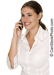 On The Phone 2 - A young businesswoman smiles as she listens...