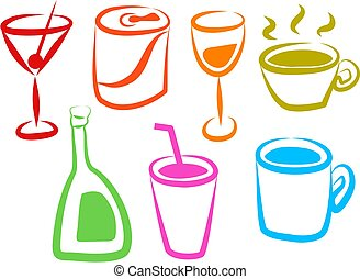 Drink Icons - colourful drink icons