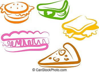 Snack Icons - tasty food symbols