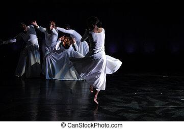 modernos, dança, desempenho, 1