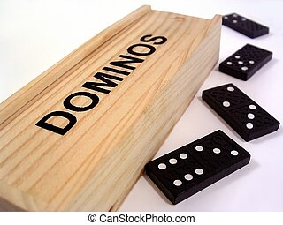 Dominoes - An old fashioned wooden dominoes box and 4...