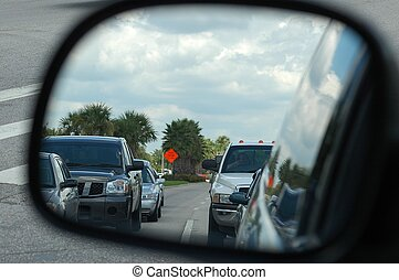 Rear View Mirror - Photographed from my car at a red light...