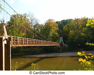 Fall Suspension - Suspension bridge crossing river