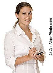 Businesswoman - An attractive woman in a white blouse holds...
