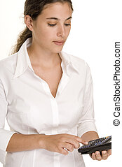 Calculating 1 - An attractive young woman uses a graphical...