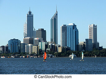 Perth City - Perth city with boats in foreground sailing on...