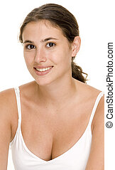 Natural Model 1 - An attractive young woman in a white top...