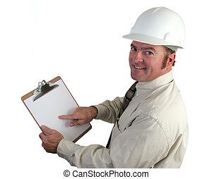 construcción, supervisor, feliz