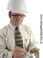 Safety Engineer Closeup - a closeup of an engineer, wearing...