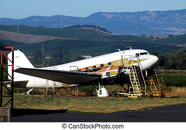 In For Repair - This plane was being refurbished on a farm...