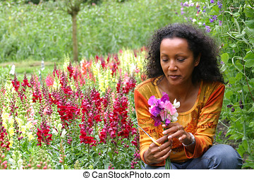 Picking flowers - Attractive woman picking flowers