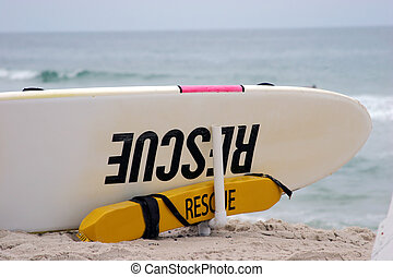 Rescue 1 CloseUp - Close up of rescue surf board on the...