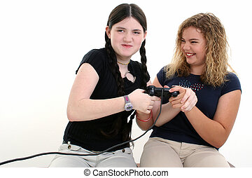 Best Friends Playing Video Games Together - Beautiful tween...