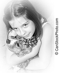 Sweet Affection - a little girl hugging her dog