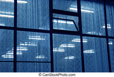 Blue window neons - Glass elevation with visible net curtain...