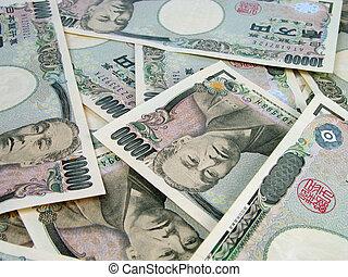 Heap of yens bills - Yens bills background