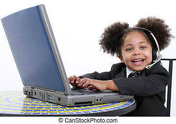 Child Girl Computer - Beautiful Little Business Woman...