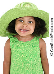 Girl Child Hat Green - Beautiful Young Girl In Big Green...
