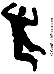 Silhouette Man Jump - Silhouette over white with clipping...
